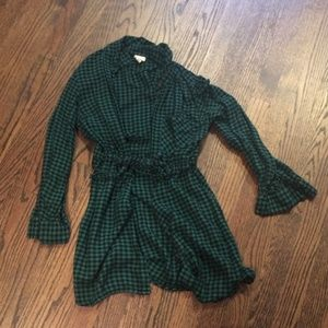 A New Day Green & Black Flannel Style Tunic